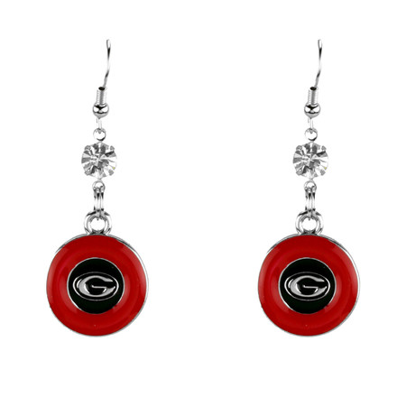 Georgia Bulldogs Dangle Earrings- Rhinestone Disk