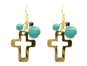 Glass Bead Cross Earrings - Gold
