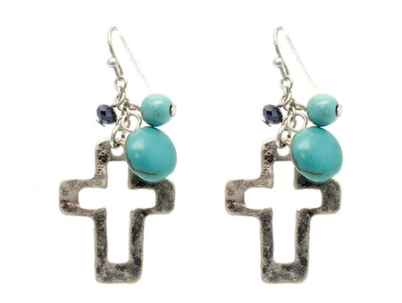 Glass Bead Cross Earrings - Silver