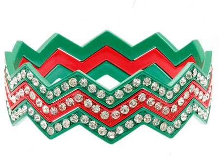 Green and Red Chevron Crystal Stone Paved Bangle 3pcs