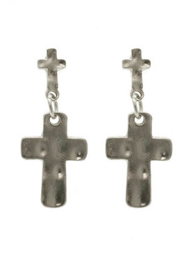 Hammered Metal Cross Post Pin Earrings