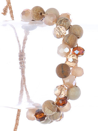 Bracelet / Natural Stone Bead / Adjustable / Iridescent Glass Bead / Interlaced Cord / 2 Inch Diameter / 2/3 Inch Tall / Nickel And Lead Compliant