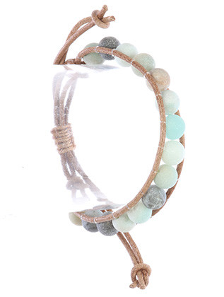 Bracelet / Natural Stone Bead / Adjustable / Double Cord / 2 Inch Diameter / 3/8 Inch Tall / Nickel And Lead Compliant