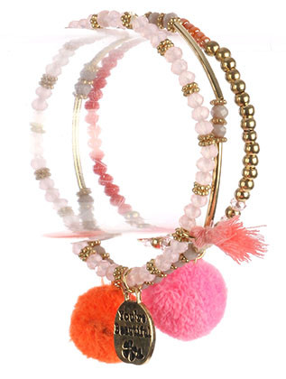 Bracelet / Pompom Charm / 3Pc Stretch / Message Metal Charm / You'Re Beautiful / Iridescent Glass / Metallic Bead / Tassel / 2 1/4 Inch Diameter / Nickel And Lead Compliant