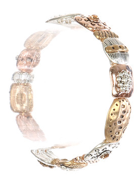 Bracelet / Hammered Metal / Stretch / Textured / Three Tone / Aged / Matte Finish / Crystal Stone / 2 1/4 Inch Diameter / 1/2 Inch Tall / Nickel And Lead Compliant