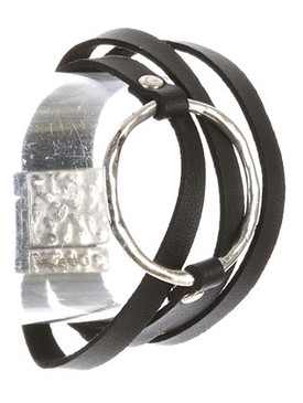 Bracelet / Hammered Metal / Cutout Circle / Faux Leather / Multi Strand / Magnetic Closure / 8 Inch Long / 1 3/4 Inch Drop / Nickel And Lead Compliant