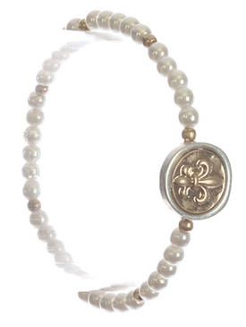 Bracelet / Fleur De Lis / Pearl Stretch / Matte Finish / Hammered Metal / Two Tone / Metallic Bead / 2 1/8 Inch Diameter / 5/8 Inch Tall / Nickel And Lead Compliant