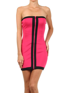 Hot Pink Color Block Strapless Tube Dress with Zipper
