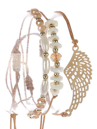 Bracelet / 3 Pc / Adjustable Cord / Cutout Metal Wing / Natural Stone Bead / Pearl / Iridescent Glass Bead / Tassel Charm / 2 Inch Diameter / 1/2 Inch Tall / Nickel And Lead Compliant