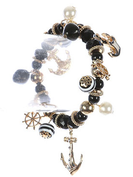 Bracelet / Nautical Metal Charm / Natural Stone Bead Stretch / Metallic Bead / Pearl Charm / Glass Bead Charm / Anchor / Shipwheel / 2 1/2 Inch Diameter / 1 Inch Drop / Nickel And Lead Compliant