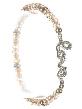 Bracelet / Iridescent Glass Bead / Metal Letter Stretch / Message / Love / Pave Crystal Stone / Metallic Bead / 2 1/8 Inch Diameter / 3/8 Inch Tall / Nickel And Lead Compliant