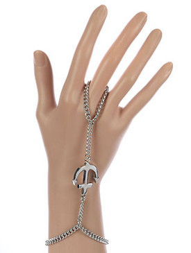 Bracelet / Ring Connected / Hand Chain / Metal Anchor / 7 Inch Long / Nickel And Lead Compliant