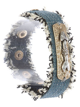 Bracelet / Arrow Charm / Denim Fabric Band / Frayed Edge / Aged Finish Metal / Metallic Stud / Sun Pattern Textured / Snap Button Closure / 7 Inch Long / 1 Inch Tall / Nickel And Lead Compliant
