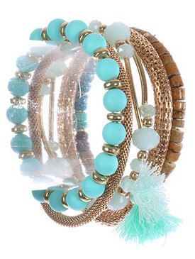 Bracelet / Mesh Chain And Bead / 5 Pc Stretch / Irridescent Glass / Wooden Bead / Metallic / Lucite / Tassel Charm / 2 1/2 Inch Diameter / Nickel And Lead Compliant