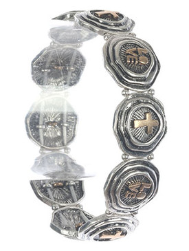Bracelet / Aged Finish / Cross Stretch / Irregular Round Shape / Textured / Message / Love / Metallic Bead / Two Tone / 2 1/2 Inch Diameter / 2/3 Inch Tall / Nickel And Lead Compliant