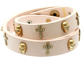 Leather Cross and Skull Bracelet - Pink