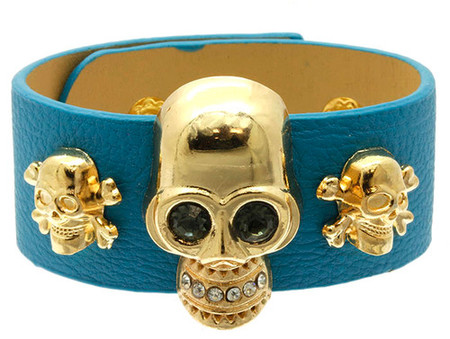 Leather Skull Bracelet - Blue