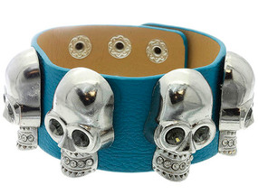 Leather Skull Bracelet - Turquoise