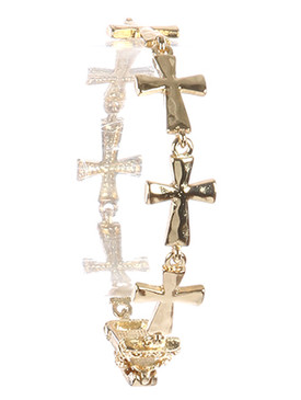 Bracelet / Hammered Metal / Cross / Link / Foldover Magnetic Closure / 7 Inch Long / 1/2 Inch Tall / Nickel And Lead Compliant