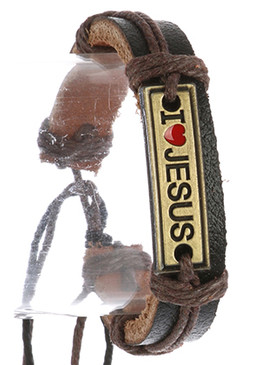 Bracelet / Faux Leather Band / Adjustable Cord / Message Metal Plate / I Heart Jesus / Cord Wrapped / 2 1/8 Inch Diameter / 1/2 Inch Tall / Nickel And Lead Compliant