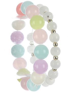 Bracelet / 2 Pc / Marble Bead Stretch / Metallic Bead / Kid Size / 2 Inch Diameter / 2/3 Inch Tall / Nickel And Lead Compliant
