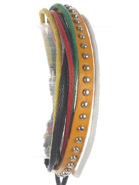 Bracelet / Faux Leather Band / Multi Cord Adjustable / Metallic Stud / Multi Color / 2 1/8 Inch Diameter / Nickel And Lead Compliant