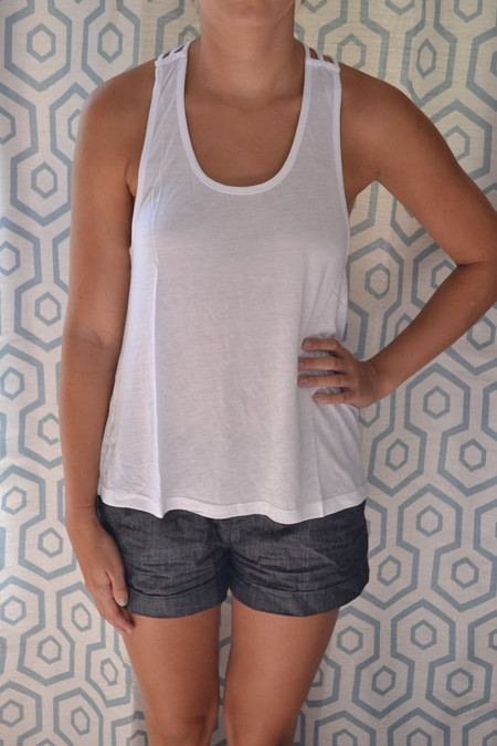 Loose Fit Round Neck Tank with Racer Back - White
