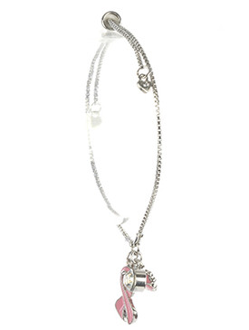 Bracelet / Breast Cancer Awareness / Adjustable Chain / Pink Ribbon Charm / Flower / Heart / Crystal Stone / Epoxy Coated / 2 Inch Diameter / 7/8 Inch Tall / Nickel And Lead Compliant
