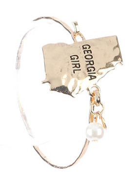 Bracelet / State Of Georgia / Hammered Metal Bangle / Heart / Pearl Charm / Georgia Girl / Hook Closure / 2 1/2 Inch Diameter / 1 3/8 Inch Tall / Nickel And Lead Compliant