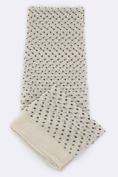 Mini Skull Dots Large Fashion Scarf - Ivory