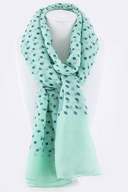 Mini Skull Dots Large Fashion Scarf - Mint