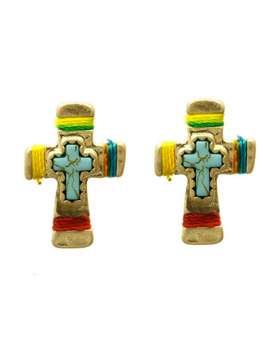 Multi-colored Cross Earrings