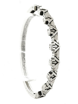 Bracelet / Aged Finish Metal / Arrow Stretch / Message / Follow Your Arrow / It Knows The Way / Segmented / Textured / Hammered / 2 1/2 Inch Diameter / 2/3 Inch Tall / Nickel And Lead Compliant