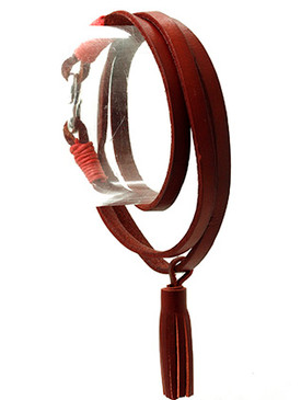 Bracelet / Faux Leather Tassel / Wraparound / S Hook Closure / 23 Inch Long / 1 1/2 Inch Drop / Nickel And Lead Compliant