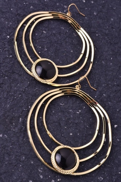 Multi Hoop Gold Earrings with Black Stone