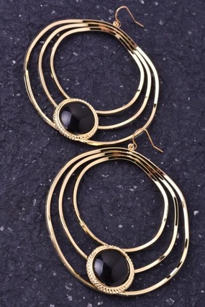 Multi Hoop Gold Earrings with Black Stone