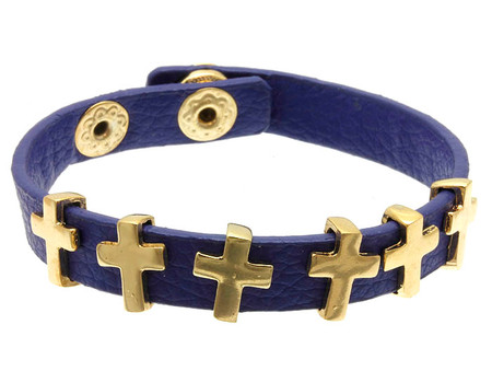Multiple Cross Leather Clip Bracelet