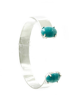 Bracelet / Oval Natural Stone / Metal Cuff / 2 1/3 Inch Diameter / 3/8 Inch Tall / Nickel And Lead Compliant
