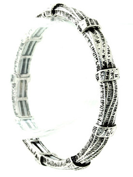 Bracelet / Aged Finish Metal / Stretch / Wavy Pattern / Etched / 2 1/4 Inch Diameter / 1/4 Inch Tall / Nickel And Lead Compliant