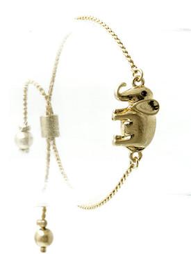 Bracelet / Metal Elephant / Adjustable / Homaica / Metallic Bead / Matte Finish / Serpentine Chain / 2 1/4 Inch Diameter / 1/2 Inch Tall / Nickle And Lead Compliant
