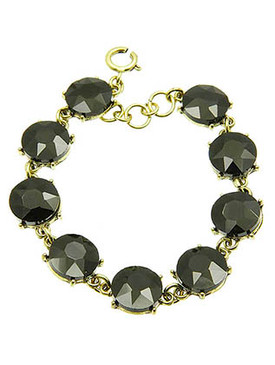 Bracelet / Round Cut / Faceted Glass Stone / 7 Inch Long / 12Mm Stone / Nickel And Lead Compliant