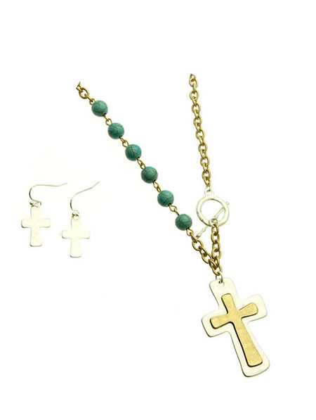Pearl Hammered Metal Cross Necklace and Earring Set - Turquoise