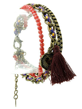 Bracelet / Heart Charm / Multi Strand / Woven Cord / Thread Tassel / Homaica Bead / Aged Finish Metal / Box Chain / 7 Inch Long / Nickel And Lead Compliant