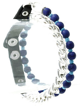 Bracelet / Natural Stone Finsh Bead / Wrap / Metal Chain / Matte Finish / Leather Strap / 14 Inch Long / Nickel And Lead Compliant