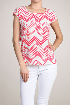 Pink Chevron Top with Scoop Neckline and Keyhole Back Tie
