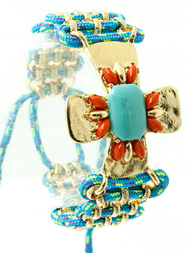 Bracelet / Cross / Natural Stone / Lucite Stone / Metal Chain / Woven Cord / Adjustable / 3 Inch Diameter / Nickel And Lead Compliant