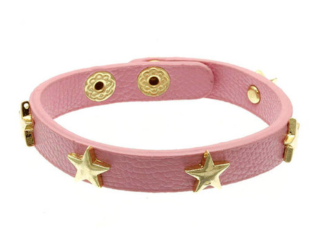 Pink Leather Star Studded Bracelet