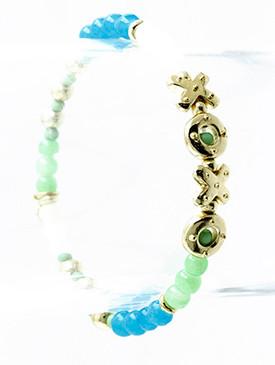 Bracelet / Lucite Bead / Stretch / Metal Bead / Heart / Cross / 2 1/2 Inch Diameter / Nickel And Lead Compliant