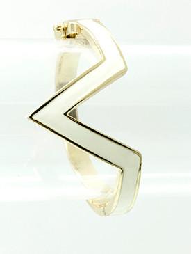 Bracelet / Chevron / Hinge / Metal / Epoxy / 2 1/2 Inch Diameter / Nickel And Lead Compliant