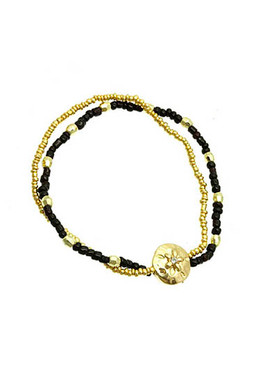 Bracelet / Flower / Stretch / Metal / Micro Bead / Lucite Bead / 1 3/4 Inch Diameter / Nickel And Lead Compliant